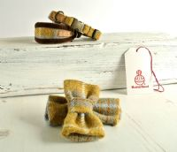 Mustard and Grey dog bow tie